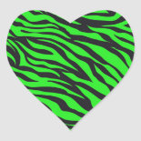 Cool Trendy Neon Lime Green Zebra Stripes Pattern Heart Stickers