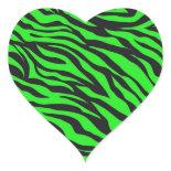 Cool Trendy Neon Lime Green Zebra Stripes Pattern Stickers