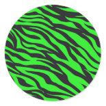 Cool Trendy Neon Lime Green Zebra Stripes Pattern Round Sticker