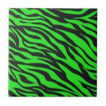 Cool Trendy Neon Lime Green Zebra Stripes Pattern Tile