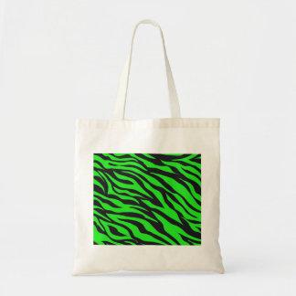 Cool Trendy Neon Lime Green Zebra Stripes Pattern Tote Bag