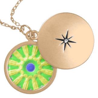 Cool trendy pattern round locket necklace