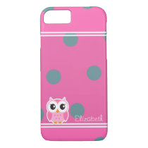 Cool Trendy Polka Dots With Cute Owl-Personalized iPhone 7 Case