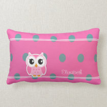 Cool Trendy Polka Dots With Cute Owl-Personalized Lumbar Pillow