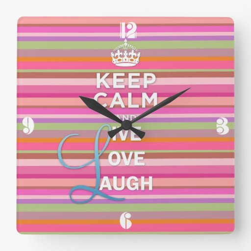 """Cool trendy quote """"Keep Calm and Live Love Laugh"""" Clock"""