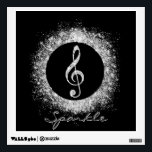 """Cool trendy sparkles glitter dust shining effects wall sticker<br><div class=""""desc"""">Cool trendy sparkles glitter dust shining effects treble clef music note circle. White glowing colour,  black background. Personalise your name or favourite words,  or delete the name for image only,  image print.</div>"""