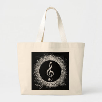 Cool trendy sparkles glitter dust  treble clef large tote bag