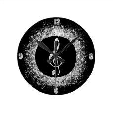 Cool trendy sparkles glitter dust  treble clef round clock