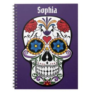 Cool Trendy Sugar Skull on Purple For Teen Notebook