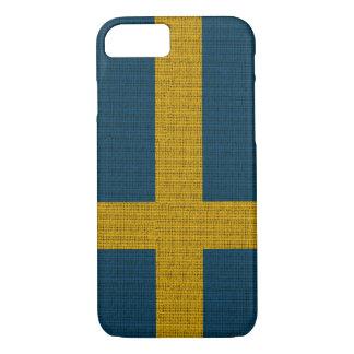 Cool trendy Sweden flag burlap iPhone 7 Case