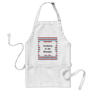 Cool Trendy Teal Turquoise Red Chevron Zigzags Adult Apron