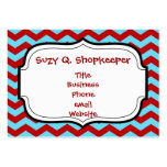 Cool Trendy Teal Turquoise Red Chevron Zigzags Large Business Cards (Pack Of 100)