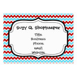 Cool Trendy Teal Turquoise Red Chevron Zigzags Business Cards