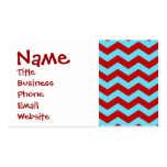 Cool Trendy Teal Turquoise Red Chevron Zigzags Double-Sided Standard Business Cards (Pack Of 100)