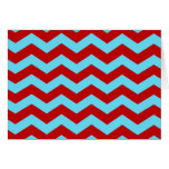 Cool Trendy Teal Turquoise Red Chevron Zigzags Stationery Note Card