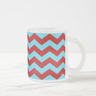 Cool Trendy Teal Turquoise Red Chevron Zigzags Frosted Glass Coffee Mug