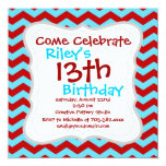 Cool Trendy Teal Turquoise Red Chevron Zigzags 5.25x5.25 Square Paper Invitation Card