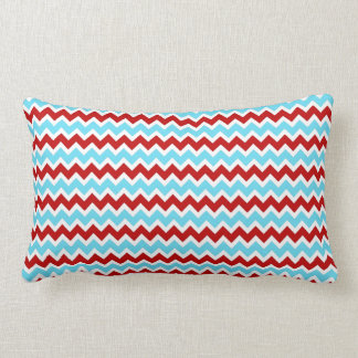 Cool Trendy Teal Turquoise Red Chevron Zigzags Lumbar Pillow