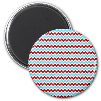 Cool Trendy Teal Turquoise Red Chevron Zigzags Magnet