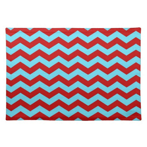 Cool Trendy Teal Turquoise Red Chevron Zigzags Place Mat