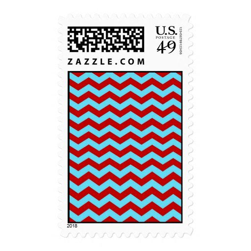 Cool Trendy Teal Turquoise Red Chevron Zigzags Postage