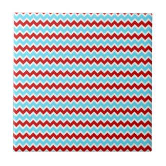 Cool Trendy Teal Turquoise Red Chevron Zigzags Tile