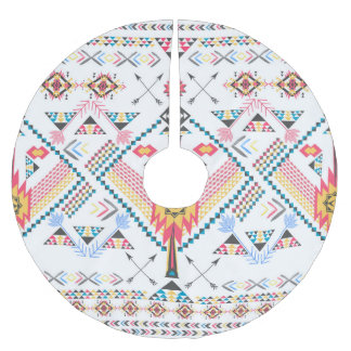 Cool trendy tribal ethnic geometric pattern brushed polyester tree skirt