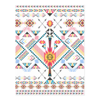 Cool trendy tribal ethnic geometric pattern postcard