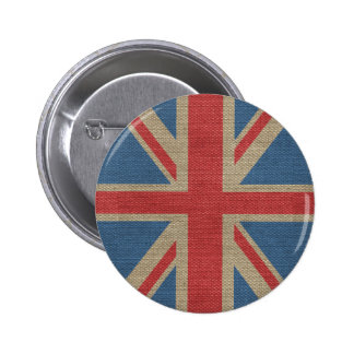 Cool trendy U.K. Union Jack Flag burlap texture Pinback Button