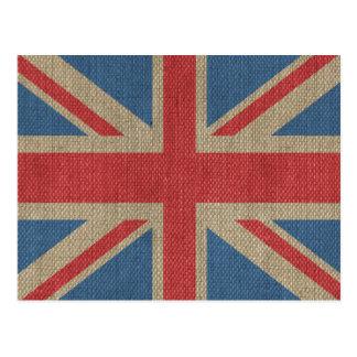 Cool trendy U.K. Union Jack Flag burlap texture Postcard