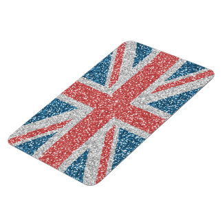 Cool trendy U.K. Union Jack flag faux glitter Magnet