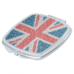 Cool trendy U.K. Union Jack flag faux glitter Mirror For Makeup