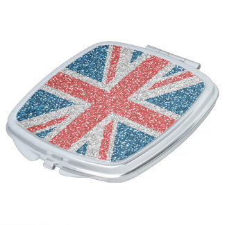 Cool trendy U.K. Union Jack flag faux glitter Compact Mirror