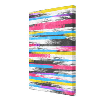 Cool trendy vibrant abstract paint stripes canvas print