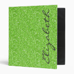 Cool trendy vibrant neon green faux glitter binders