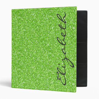 Cool trendy vibrant neon green faux glitter binder