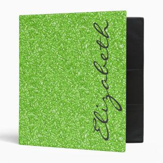 Cool trendy vibrant neon green faux glitter binder