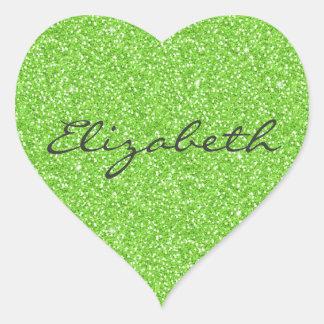 Cool trendy vibrant neon green faux glitter heart sticker