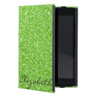 Cool trendy vibrant neon green faux glitter iPad mini cases