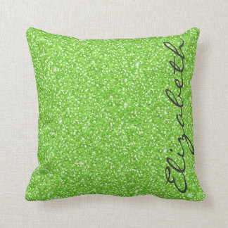 Cool trendy vibrant neon green faux glitter throw pillow