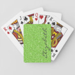 """Cool trendy vibrant neon green faux glitter playing cards<br><div class=""""desc"""">Cool trendy vibrant neon green faux glitter monogram background, bright, fashionable, shining, sparkling, glowing effects, lime green, neon, girly, fun, stylish, awesome, happy, summer colours, modern, feminine, fashion, illusion, psychedelic, cute, fresh, unique, glamorous, chic, love, popular, pretty, dreamy, customizable. Personalise your name or favourite word, or delete the word for...</div>"""