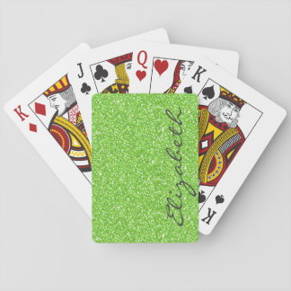 Cool trendy vibrant neon green faux glitter playing cards