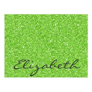 Cool trendy vibrant neon green faux glitter postcard