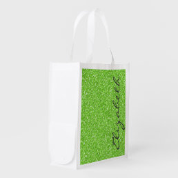Cool trendy vibrant neon green faux glitter reusable grocery bag