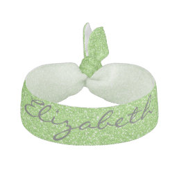 Cool trendy vibrant neon green faux glitter ribbon hair tie