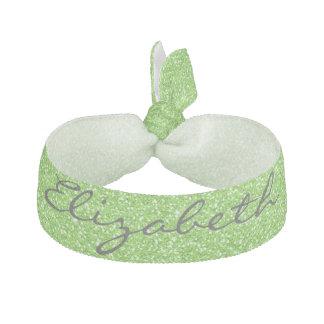 Cool trendy vibrant neon green faux glitter ribbon hair tie