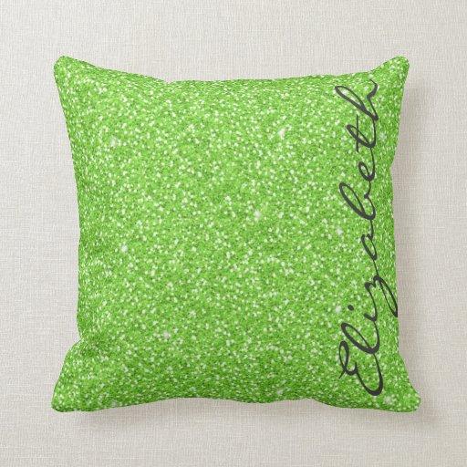 Neon Blue Throw Pillows : Cool trendy vibrant neon green faux glitter throw pillow Zazzle