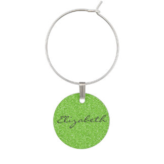 Cool trendy vibrant neon green faux glitter wine glass charm