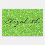 Cool trendy vibrant neon green faux glitter lawn sign
