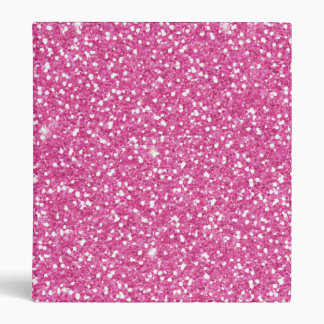 Cool trendy vibrant neon hot pink faux glitter binder